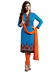 Ethnic For You Blue And Orange Chanderi Top Embroidered Work With Border Unstiched Dress Material