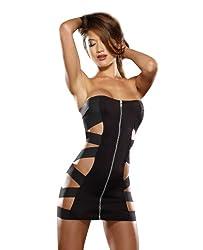 Dreamgirl Women's Zipped and Bound Mini Dress, Black, One Size