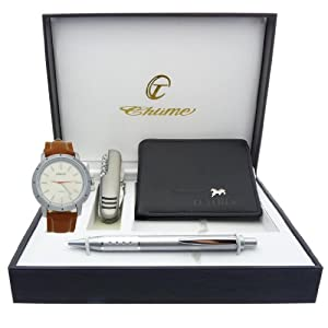 Montre Concept - Gift Box CCP - multifunction knife - wallet - men's Analog Watch - Camel Synthetic Strap / Bracelet - Round Dial Silver Color Background