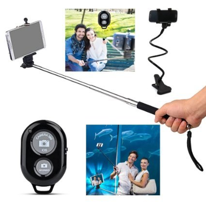Elite Premium Product Bluetooth Monopod Selfie Stick, Selfy Sticks, Best Selfies Sticks Bluetooth Remote. With Complimentary Tripod & Lazy Cell Phone Holder. Extra Strong, Super Comfortable.