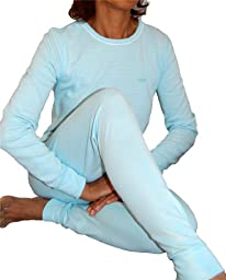 2 Piece Set Top and Bottom Ladies Ski Long Johns Thermal Underwear Baby Blue-XS