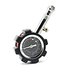 iSaddle Tire Pressure Gauge with Bleeder Air Release Button & Swivel Angle Chuck & Protective Rubber Guard, Large Face Dial Accurately Measures up to 100 Psi for Cars Trucks Motorcycles Bicycles