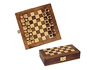 Store Indya Store Indya Hand Carved Wooden Decorative Folding Travel Chess Set inches