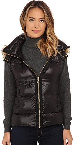 Vince Camuto Women's Light Weight Down Vest with Faux Fur Trim Hood J1741 Black Outerwear MD (US 8-10) (Fur Trim Hood Vest compare prices)