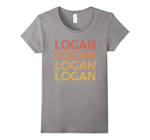 Women's Logan, Utah - Retro Vintage T Shirt Large Slate (City Of Logan)
