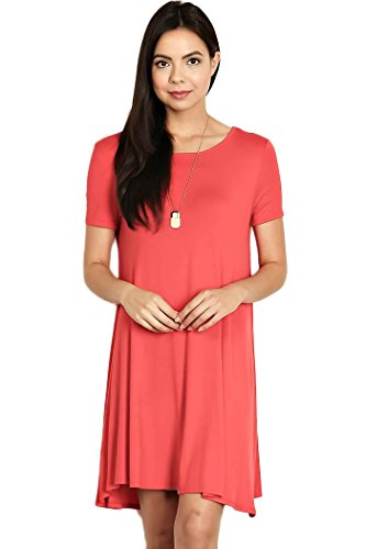 ColorMC Women's Solid Knit Jersey Scoop Neck Short Sleeve Shift Dress Large Red