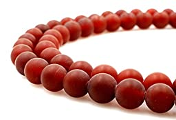 BRCbeads Natural Matte Red Carnelian Gemstone Round Loose Beads 8mm Approxi 15.5 inch 45pcs 1 Strand per Bag for Jewelry Making