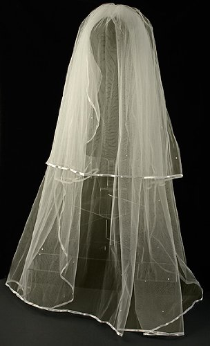 Ivory Two Tier Bridal Veil with Satin Edges & Scattered Pearls