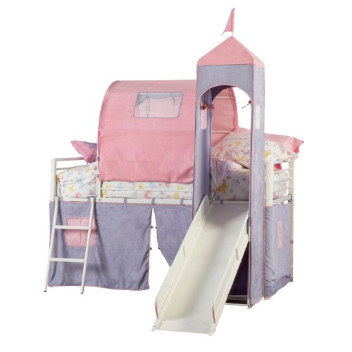 picture Powell Princess Castle Twin Tent Bunk Bed with Slide