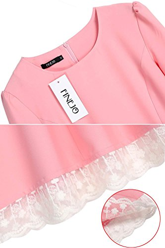 Finejo women fashion elegant long sleeve lace trimming for Craft hobbies for women