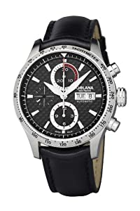 Golana Advanced Pro Men's Automatic Watch with Black Dial Chronograph Display and Black Leather Strap AD200-1