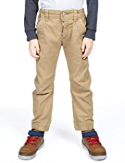 Pure Cotton Adjustable Waist Cuffed Hem Chinos