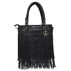 Fur Jaden Black Fringed Handbag