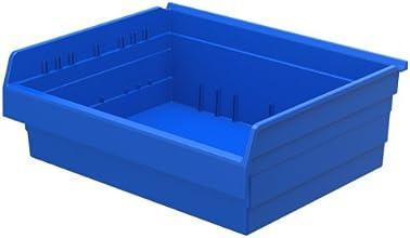 Akro-Mils 30828 ShelfMax 8 Plastic Nesting Shelf Bin Box 18-Inch x 22-Inch x 8-Inch Blue 4-Pack