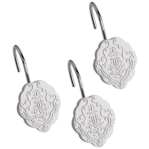 Decorative Shower Hooks Vintage White - Set of 12- Guaranteed Rust Protection- Quality Exceptionally Strong- Easy Gliding- Features French Fleur De Dis Motifs- Incredibly Stunning! White