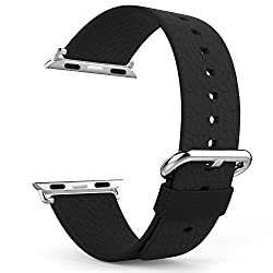 Apple Watch Band with Apple Watch Lug, MoKo Premium Soft Genuine Leather Replacement Strap for 42mm Apple Watch All Models, BLACK