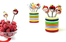 Shopos Fancy Disposable Stainless Steel Cartoon Shape Fruit Fork Set With Stand