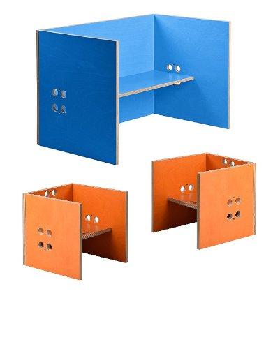 Kindersitzgruppe – Kindermöbel – 2 Kinderstühle + 1 Kindertisch / Bank. Freie Kombination der Farben möglich! (Stühle / Hocker orange, Tisch / Bank blau)