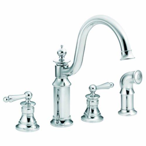 Moen S712 Waterhill Two-Handle High Arc Kitchen Faucet, Chrome (Moen 2 Handle Kitchen Faucet compare prices)