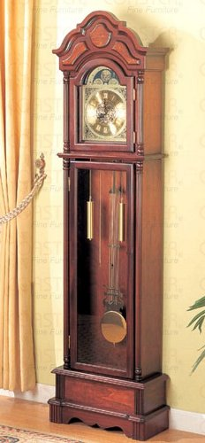 Beautiful Cherry Grandfather Clock Wood Curio Chime New - Coaster 900749