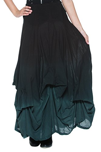 Womens-Black-Gray-Ombre-Victorian-Goth-Steampunk-Bustle-Petticoat-Long-Skirt