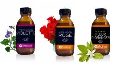 Lot 3 Aromes Naturels FLEURS : Rose - Violette - Fleur d'Oranger