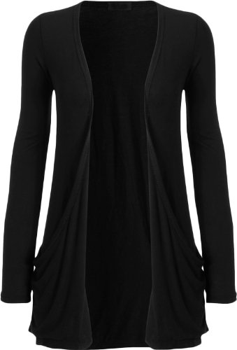 WearAll Women's Long Sleeve Pocket Cardigan - Black - 8-10