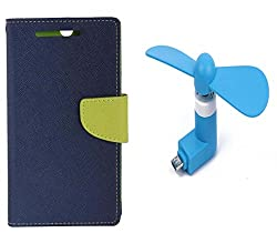 Novo Style Book Style Folio Wallet Case Micromax Canvas Selfie Lens Q345 Blue + Smallest Mobile Fan Android Smart Phone
