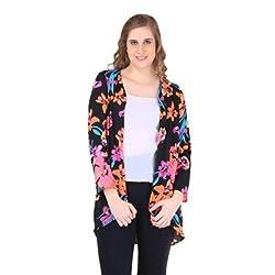 New Sierra Women Crepe Digital floral Print full sleeves fron open Shrug