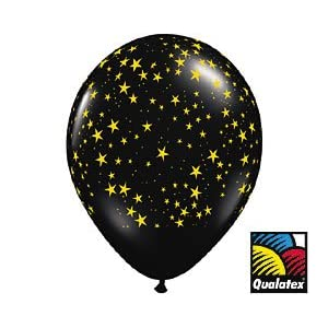 Black with Gold Stars Latex Balloons