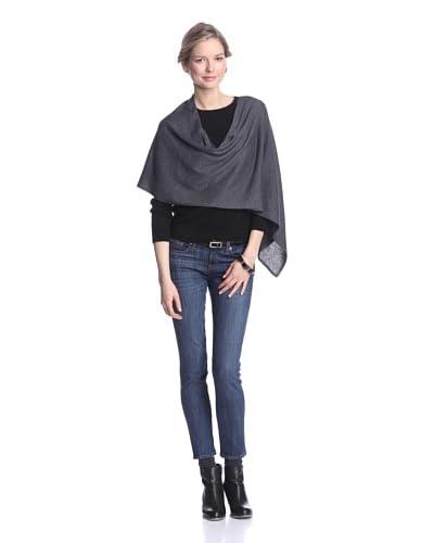 525 America Women's Cotton & Cashmere Ruana, Dark Grey As You See