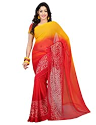 Admyrin Yellow And Red Georgette Saree With Georgette Blouse