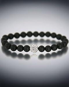 Dyoh Jewelry - Pave Rhinestone Inset and 8 mm Matte Black Onyx Bead Bracelet DYOH-PV150 (9 Inches)