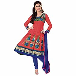 Ashika Women Georgette Dress Material (8530 _Orange And Purple _30)