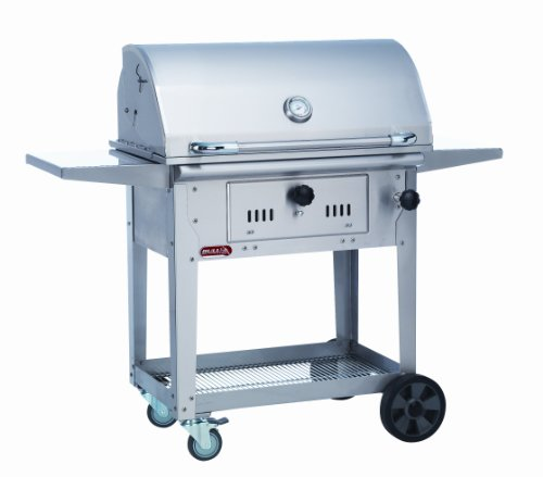 Bull Outdoor Products 67530 Bison Charcoal Stainless Steel Grill With Cart