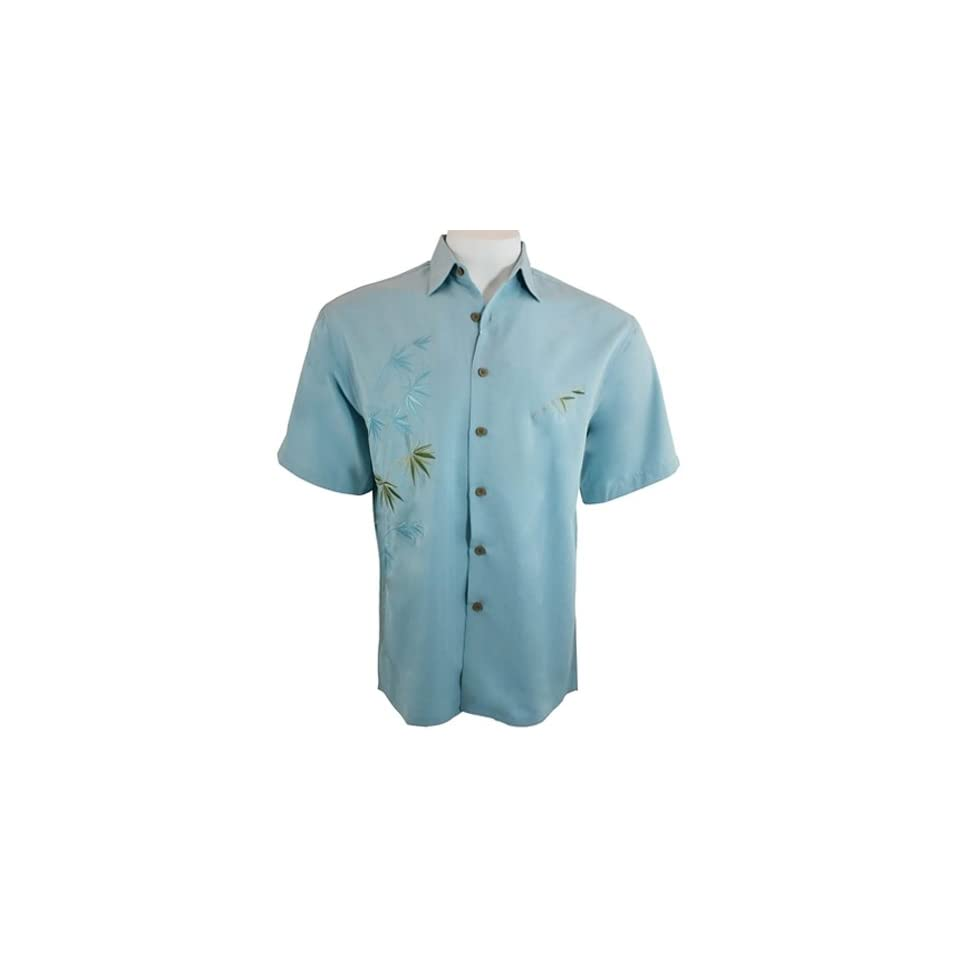 Tropical Style Embroidered Mens Shirt Bird of Paradise Bamboo Cay