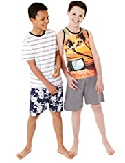 2 Pack Pure Cotton Surfs Up Short Pyjamas