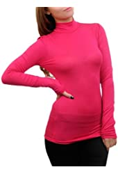 G2 Chic Women's Long Sleeve Solid Turtleneck Top