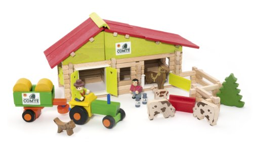 Jeujura 140 Pieces Wooden Construction Farm in Suitcase