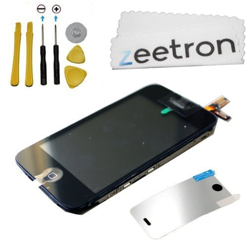 Iphone 3Gs Screen Assembly, Digitizer Lcd Home Button Flex Cable Proximity Cable, Enite Front Portion Of The Iphone, 6 Piece Tool Kit, Screen Protector And Zeetron Microfiber Cloth