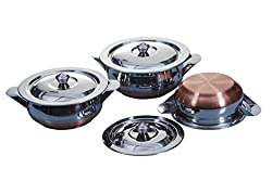 Nature's Select Copper Bottom Container Urli with Lid - 3 Pcs Set 750 ml - 1250ml S10-12 Kadai/Handi