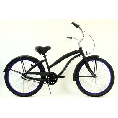 Women's 3-Speed Aluminum Beach Cruiser Frame Color: Flat Black with Purple Wheels