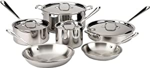 All-Clad 501853 Gourmet Stainless Steel 10-Piece Cookware Set, Silver