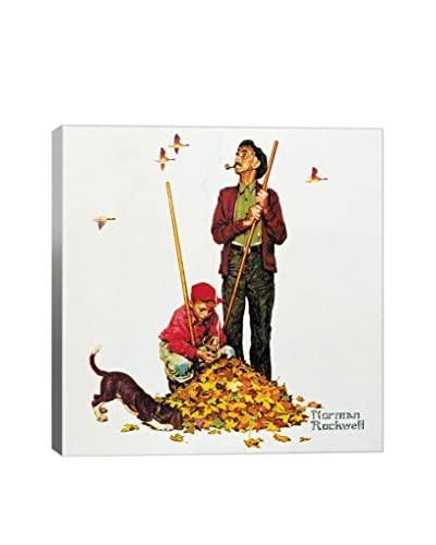 Norman Rockwell Grandpa and Me: Raking Leaves Giclée Print