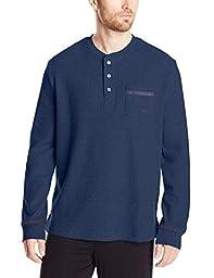 Tommy Bahama Men\'s Waffle Thermal Knit Long Sleep Sleep Shirt, Blueberry, Medium