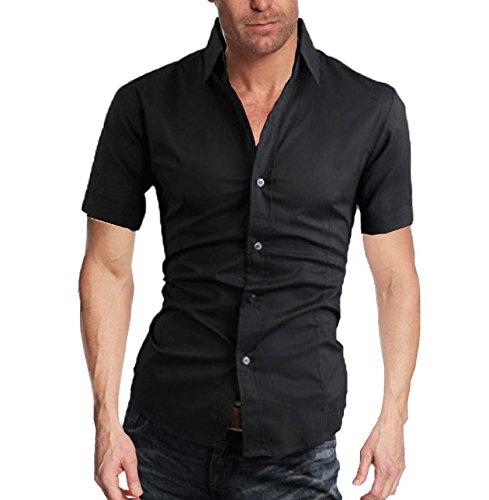 WSLCN -  Camicia Casual  - con bottoni - Basic - Classico  - Maniche corte  - Uomo nero Medium