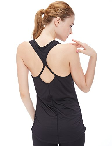 icyzone Woemen's Soft Racerback Workout Yoga Fitness Sports Tank Top (M, Black) (Fitness Tops compare prices)