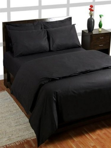 Homescapes 200 Thread Count Ultrasoft - Plain Black Fitted Sheet - Double - 100% Egyptian Cotton Percale, Anti Dust Mite