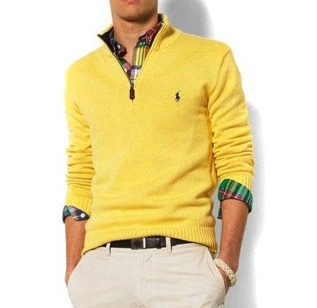 Polo Ralph Lauren Mens Cotton Half Zip Jumper Sweater in Yellow (X-Large)