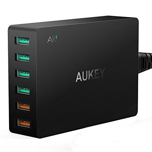 AUKEY-Quick-Charge-30-Caricabatterie-USB-da-Muro-2-Porte-Quick-Charge-30-4-Porte-5V-24A-per-iPhone-iPad-HTC-Xiaomi-Smartphone-e-Tablet-ecc-con-un-Cavo-Micro-USB-Quick-Charge-di-1m-Nero